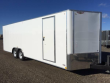 2019 H AND H TRAILERS 101X24 WHITE ENCLOSED V-NOSE 5.2K TANDEM AXLE CAR HAULER