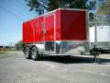 7X12 RED ENCLOSED CARGO MOTORCCYLE TRAILER V-NOSE