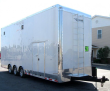 CUSTOM BUILDS ONLY 2020 28' MILLENNIUM 2-CAR STACKER ENCLOSED TRAILER W/ RED CABINETS