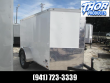 5X8 V CARGO TRAILER WHITE RAMP DOOR AND SIDE DOOR